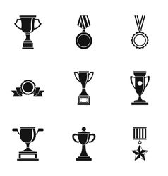 Rewarding icons set simple style vector