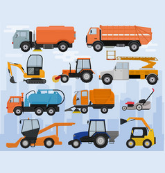 road cleaning machine vehicle truck sweeper vector image