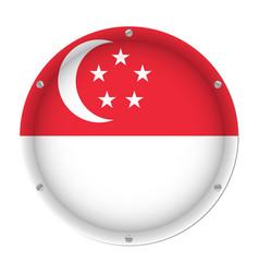 round metallic flag of singapore with screws vector image
