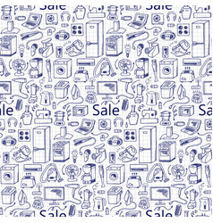 sale household doodle seamless pattern vector image
