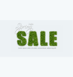 Sale sign in green grass realistic spring vector