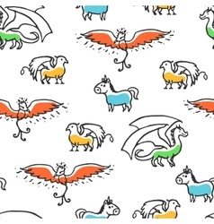 Seamless pattern with cute cartoon mythical beasts vector