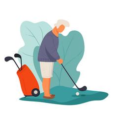 senior man playing golf hitting ball active vector image