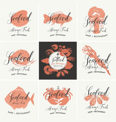 set banners for seafood shop or vector image