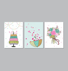 set beautiful birthday love congratulation vector image