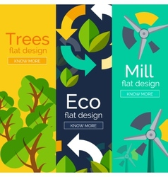 Set of flat design eco concepts vector image