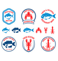 set of seafood emblems fish lobster squid design vector image