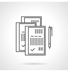 Signed documents line icon vector image