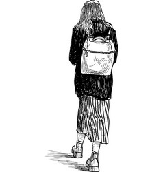 Sketch a casual walking girl vector