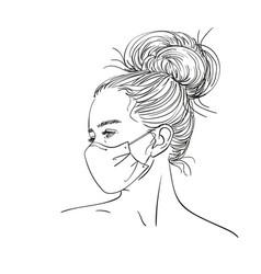 Sketch teenage girl portrait in medical face vector