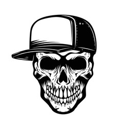 Skull in baseball hat isolated on white vector