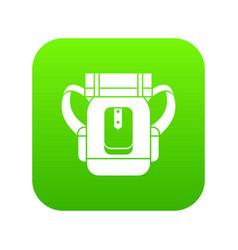 Sleeping bag icon digital green vector