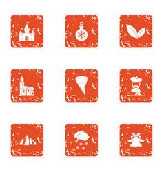 Slope icons set grunge style vector
