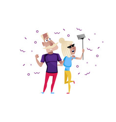 Sporty mature couple doing selfie character vector