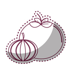 Sticker silhouette tomato and garlic vegetable vector