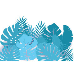 summer paper cut tropical palm leaves decor vector image