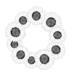 sunflower wreath outline vector image