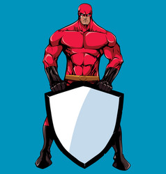superhero holding shield no cape vector image