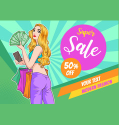 surprise woman with sale promotion poster vector image