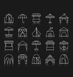 tent simple white line icons set vector image