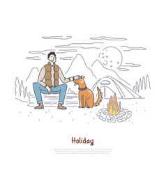 tourist with dog sitting campfire hiking trip vector image