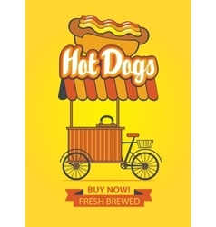 Tray selling hot dogs vector