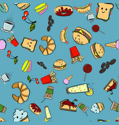 trendy seamless pattern with fast food icons vector image