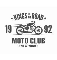 Vintage motorcycle label t-shirt design vector image