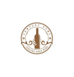 vintage retro whisky wine beer bottle logo design vector image