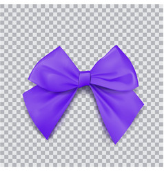 violet bow for packing gifts realistic vector image