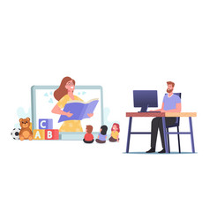 Virtual baby sitter online babysitting service vector