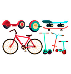 wheeled items set bicycle skateboard scooter vector image