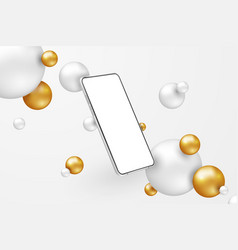 white realistic smartphone mockup 3d mobile phone vector image
