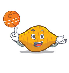 With basketball conchiglie pasta character cartoon vector