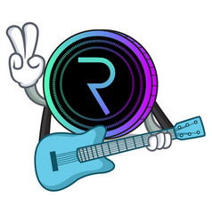 With guitar request network coin mascot cartoon vector