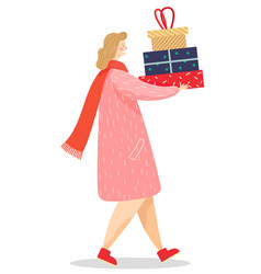 Woman carrying gift on christmas winter holidays vector