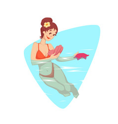 Woman swimming in the water vector
