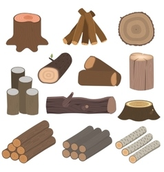 Wood materials logs vector