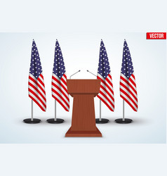 Wooden Podium Tribune US flags vector