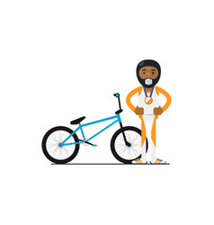 Young african bicyclist with bike vector