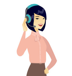 Young asian customer service operator in headset vector