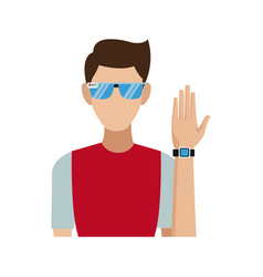 Young man wearing vr glasses and smartwatch vector