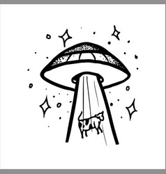 Aliens kidnapping a cow tightening her inside ufo vector