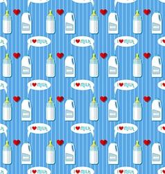 Baby bottle and whole milk gallon seamless pattern vector