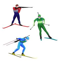 biathlonists set on skis vector image vector image