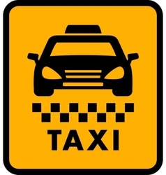 Cab car silhouette on yellow taxi icon vector