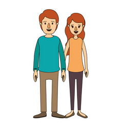 Color image caricature full body couple in casual vector