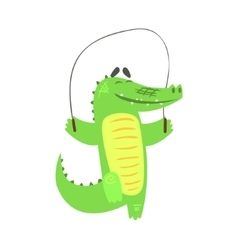Crocodile Jumping Skipping Rope Humanized Green vector image