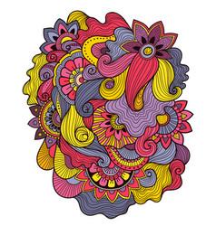 doodle art floral composition tattoo flower vector image vector image