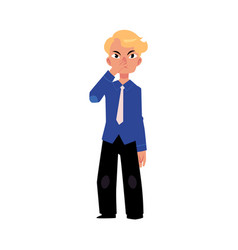Flat business man pinching nose isolated vector